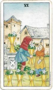 rider-waite tarot six cups card
