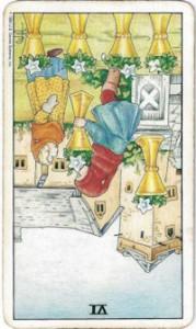 rider-waite tarot six cups card reversed