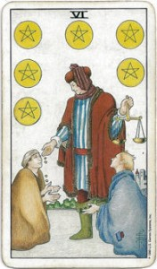 rider-waite tarot six pentacles card