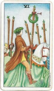 rider-waite tarot six wands card